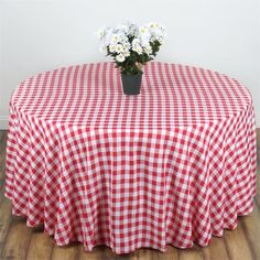 "90"" White/Red Perfect Picnic Inspired Checkered Round Polyester Tablecloths"