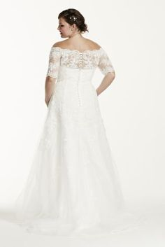 This gorgeous Jewel Collection trumpet gown with modern style and feminine accents is perfect for your special day! Off the shoulder bodice features delicate beaded lace appliques and 3/4 sleeves. Embellished lace illusion back detail. Trumpet skirt adds a dramatic flare and creates movement. Sweep train. Sizes 16W-26W. Available in Soft White in select stores and for special order. White available by special order only. Missy: Style WG3734. Sizes 0-14. ,050. Available in store and