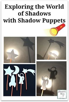 Shadows can be scary this STEM activity invites children to explore the world of shadows with shadow puppets. It would also be great for storytelling and pretend play. This would be fun to do when studying space with your children at home or students at Space Activities For Kids, Space Theme Preschool, Drama Activities, Eyfs Activities, Preschool Science, Science Experiments Kids, Science Activities, Shadow Theme, Puppets For Kids
