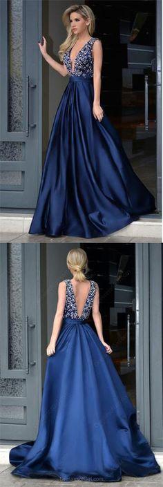 Glamorous A-Line Deep V-Neck Sweep Train Royal Blue Long Beading Prom Dresses uk PM328