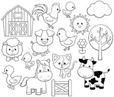 Farm Animal Coloring Pages, Coloring Book Pages, Coloring Pages For Kids, Small Drawings, Easy Drawings, Animal Drawings, Felt Animal Patterns, Stuffed Animal Patterns, Baby Farm Animals