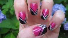 Girly Abstract French Nail Tutorial (Originally done by BennaBop), via YouTube.
