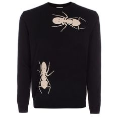 Paul Smith Men's Black 'Ant' Motif Merino Wool Sweater