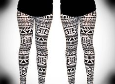 Sale Womens Aztec mayan print pattern black and white Leggings Tights on Etsy, $38.00