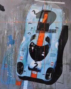 These amazing car paintings were done without photoshop Prints and paint, but no photoshop. The founder of the excellent formfreu.de, Markus Haub, transforms vintage racing pictures into the coolest car art we've seen all year. Car Posters, Poster S, Carros Lamborghini, Lamborghini Gallardo, Le Mans 24, Mobile Art, Car Illustration, Car Drawings, Automotive Art