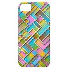 Funky Colorful Retro Abstract Squares Pattern Apple iPhone SE + 5/5S case