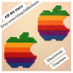 Macintosh Apple Coasters Set of 2 by on Etsy Rainbow Apple Logo, Gadget, Creative Crafts, Diy Crafts, Hama Beads Patterns, Kandi, Bead Art, Coaster Set, Perler Beads