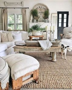 This farmhouse living room is so cozy. Like the mantle Topiaries, grainsack pillows. Gorgeous French Country Living Room Decor Ideas Source by laniefave Modern Farmhouse Living Room Decor, French Country Living Room, Shabby Chic Living Room, Home Living Room, Living Room Designs, Rustic Farmhouse, Farmhouse Style, Farmhouse Design, Cozy Living