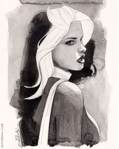Rogue by Jeff Dekal #watercolor commission. #rogue #marvel #marvelcomics @marvel #greywash #c2e2