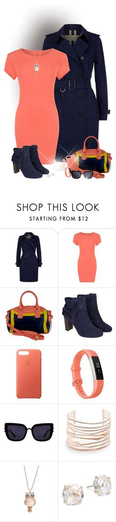 """""""Coral Navy"""" by laaudra-rasco ❤ liked on Polyvore featuring Burberry, WearAll, Monsoon, Apple, Fitbit, Kendall + Kylie, Alexis Bittar and Kate Spade"""