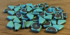Czech Glass Bead Triangle Turquoise Brown by gypsybeadpeddler