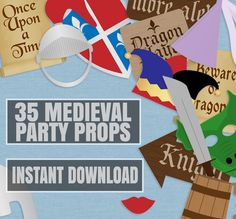35 Medieval Party Props, knights party printable photo booth signs, knights and princess party, beware of dragons, medieval party ideas by YouGrewPrintables on Etsy