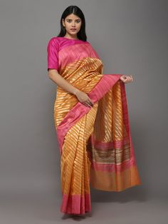 Orange Pink Handwoven Banarasi Cotton Silk Saree