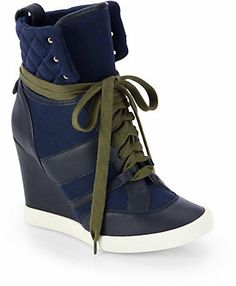 Chloé Leather & Canvas Wedge Sneakers on shopstyle.com