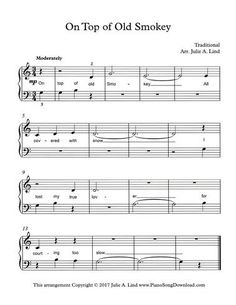 On Top of Old Smokey: free beginning piano sheet music for piano lessons. #pianolessons