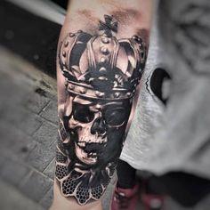 Black and Grey Skull Tattoo Art