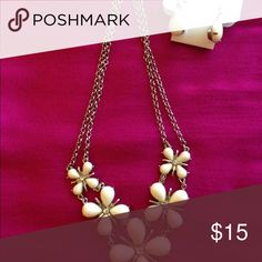 Charming Charlie necklace and earring set Adorable white floral necklace with clear stones and silver tone hardware.  Necklace measures 18.5 inches in length. Earrings have never been worn. Charming Charlie Jewelry Necklaces