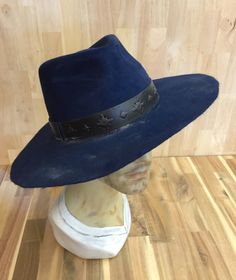 21c1586b11d46 navy lite weight rabbit fur felt mens fedora distressed by hatWRKS Custom  Leather