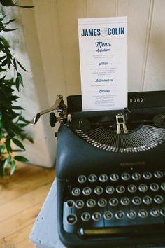 typewriter displays // Emily Elizabeth Events + A love supreme photography + Pretty Flowers Maine + Parrott Design Studio