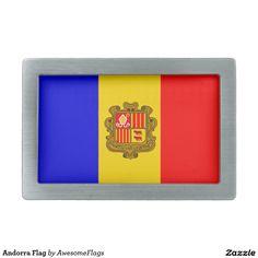 Andorra Flag Rectangular Belt Buckles