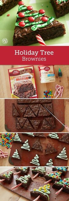 You'll love these Christmas Tree Brownies with Candy Cane trunks and they are so easy to make and look and taste great. Watch the video too.