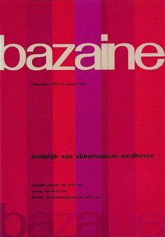 """Poster by Wim Crouwel """"stedelijk van abbedemuseum eindhoven"""" Bazaine 1958-1959. Rose parallels lines. #wimcrouwel #graphicdesign #rose"""