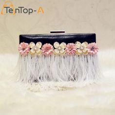 TenTop-A 100% New Designer PU Leather Evening Bags Bolsa Female Elegant Artificial Flowers Feather Purse Day Clutches Handbags