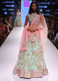 TDB Picks Mint green and pink floral lehenga Anushree Reddy at Lakme Fashion Week Summer Resort 2015