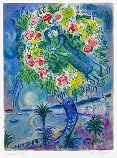Masterworks Fine Art - Couple et Poisson (Couple and Fish), From Nice and the Cote d'Azur, 1967. A lithograph hand-signed by Marc Chagall