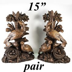 Antique Black Forest Hand Carved Tall Pair, Epergne or Lamp Stands, Game Hens Black Forest, How To Antique Wood, Rare Antique, Sculpting, Hand Carved, Lion Sculpture, Hens, Antiques, Wood Carvings