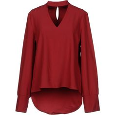 Brigitte Bardot Blouse ($114) ❤ liked on Polyvore featuring tops, blouses, red, long sleeve tops, red long sleeve top, red top, red blouse and red long sleeve blouse