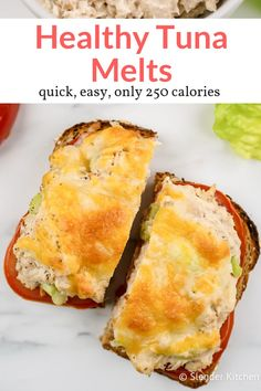 Healthy Tuna Melt is part of Healthy tuna - A lightened up version of the classic diner Tuna Melt! Made with a lightened up tuna salad, sliced tomatoes, and plenty of melted cheese on wheat bread Good Healthy Recipes, Healthy Foods To Eat, Gourmet Recipes, Healthy Snacks, Cooking Recipes, Healthy Eating, Dinner Healthy, Vegetarian Cooking, Dinner Recipes