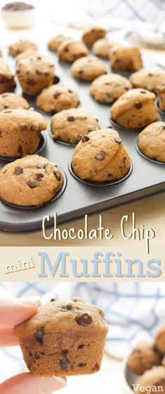 Ready in 20 minutes, these vegan Mini Chocolate Chip Muffins will be a new go-to, pop-able treat! Bursting with chocolate chip cookie flavor, these soft mini muffins are sure to be a hit! They're great for lunch boxes or as a fun, after school snack. (vegan, dairy-free, egg-free)