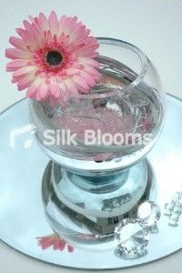 Centerpiece   Mirrored Fishbowl Table Arrangement - Pink Spiral...