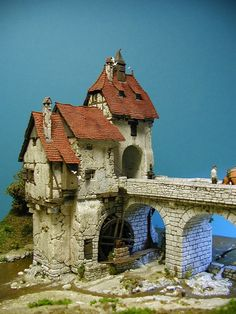 Mill and bridge, terrain Casa Estilo Tudor, Medieval Houses, Wargaming Terrain, Fantasy House, Tiny World, Moving House, Miniature Houses, Medieval Fantasy, Fairy Houses