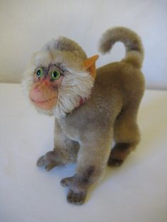 Steiff Vintage CoCo Baboon - 10 cm - 1952 to 1970 - Jointed Head & Glass Eyes - Adorable! Leather Collar, Red Leather, Cute Piggies, Baboon, Red Felt, Primates, Etsy App, Black Glass, Shop My