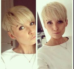 Blunt Cut Fringe Platinum Blonde Color for Short Hair