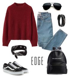 """Casual"" by sarahyounes98 on Polyvore featuring Everlane, Vans, Balenciaga and Yves Saint Laurent"
