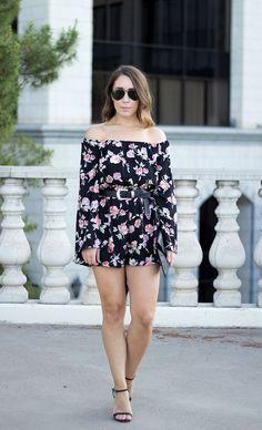 Clothes & Quotes Blog: Off-The-Shoulder Floral Print Romper & Fergie ROXANE sandals