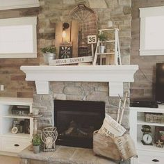 Rustic Painted Fireplace