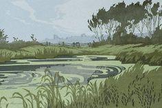 ✨ Oscar Droege (1898-1983) - Schilf am Wasser, Farb-Holzschnitt, 21 x 34,5 cm ::: Reed at the Water, Colour Woodcut