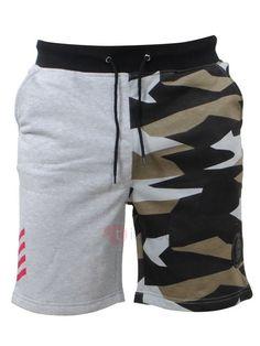 b859bbd3eea6 Pantalon Courte Homme Sportif Patchwork Camouflage