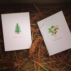 Holiday cards part of our new watercolors collection  #pottingshedcreations #stationery #holidaycards #christmas #handmade #winter
