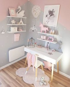 I like these white wall shelves. I like these white wall shelves. I like these white wall shelves. Teenage Girl Bedrooms, Little Girl Rooms, Kid Bedrooms, Teenage Room, Baby Room Decor, Bedroom Decor, Bedroom Ideas, Bedroom Themes, Room Decor For Girls