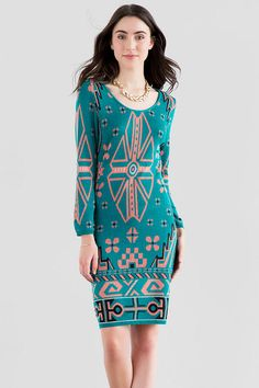 "A whimsical geometric design decorates this teal sweater dress perfect for fall. Wear with booties &  satchel to finish off the look.<br />%0D%0A<br />%0D%0A- 39"" length from shoulder to hem<br />%0D%0A- 30"" chest<br />%0D%0A- 36"" sweep<br />%0D%0A- measured from a size small<br />%0D%0A<br />%0D%0A- 100% Acrylic<br />%0D%0A- Hand Wash<br />%0D%0A- Imported"