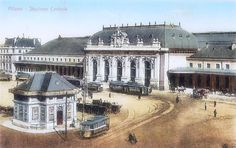 1910 - Old Milan Central station in a color postcard