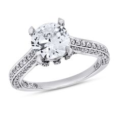 Passionstone, 5/8 ctw Round-cut Diamond Semi Mounting Engagement Ring With CZ Center in 14K White Gold - Passionstone Bridal  - Designers