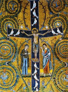 Tree of Life cross from the ancient Basilica of St. - Feast of the Exaltation of the Holy Cross – 14 September, also called Feast of the Triumph of the Cross and Holy Cross Feast. Early Christian, Christian Art, Religious Icons, Religious Art, Images Du Christ, Byzantine Art, Byzantine Mosaics, Spiritus, Holy Cross