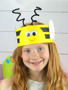 bee headband craft for kids Bee Crafts For Kids, Spring Crafts For Kids, Summer Crafts, Toddler Crafts, Projects For Kids, Headband Crafts, Hat Crafts, Kindergarten Crafts, Preschool Crafts