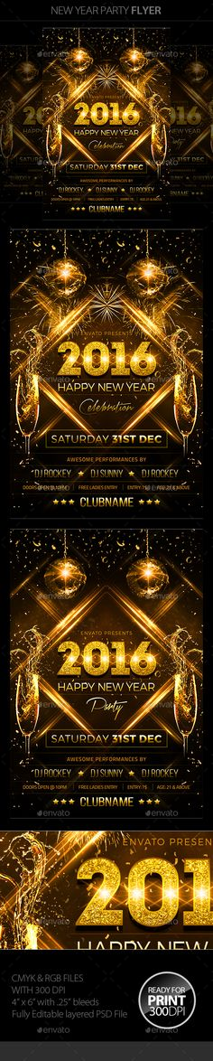 New Year Party Flyer Template PSD #design Download: http://graphicriver.net/item/new-year-party-flyer/13559214?ref=ksioks